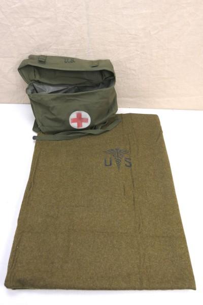 US Pack Field Cargo M-1945 Medic Tasche + Wool virgin Blanket Aesculab US Decke Sanitäter Red Cross