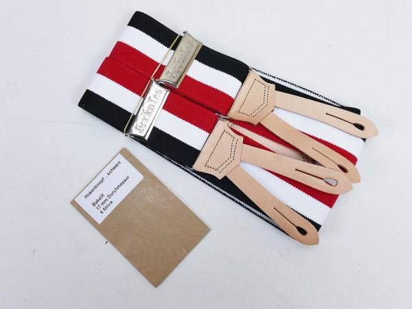 Vintage Hosenträger HERKULES schwarz weiß rot + 8 Knöpfe Feldhose Uniform
