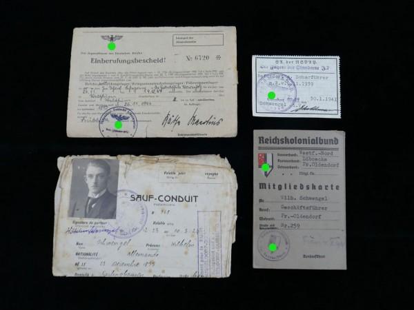 Dokumentensammlung - Passierschein / Einberufungsbescheid H.J. / Mitgliedskarte Reichskolonialbund