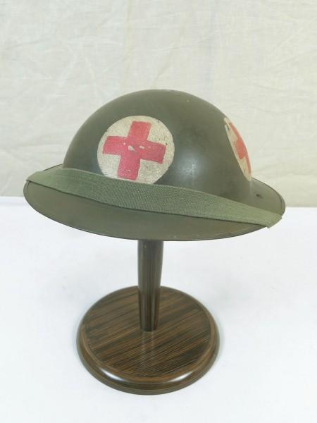 Typ WW2 Sanitäter Tellerhelm Britisch Stahlhelm Gr.56 mit Kinnriemen British Army