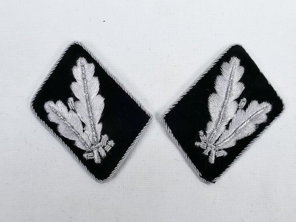 Paar WSS Dienstgradabzeichen / Kragenspiegel Oberführer / Oberstleutnant -flache Ausführung-