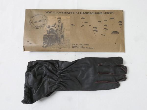WW2 Wehrmacht LW Fallschirmjäger Leder Handschuhe braun FJ Luftwaffe