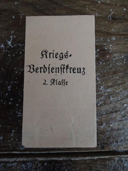 """Verpackung für Orden """"Kriegsverdienstkreuz 2 Klasse"""""""
