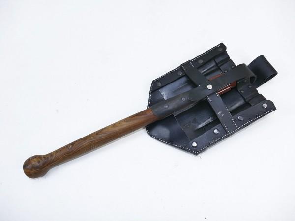 WW2 Wehrmacht Infanterie Klappspaten Schaufel mit Leder Tasche Spatentasche