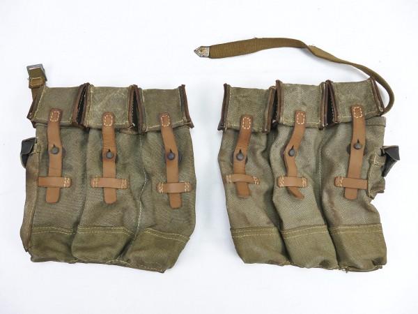 #13 Wehrmacht 2x Magazintasche Paar Sturmgewehr 44 STGW44 MP44 MKB Leder Verschlußriemen