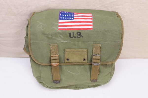 US MUSETTE BAG WW2 Kampftasche Tasche mit Patch US Flagge