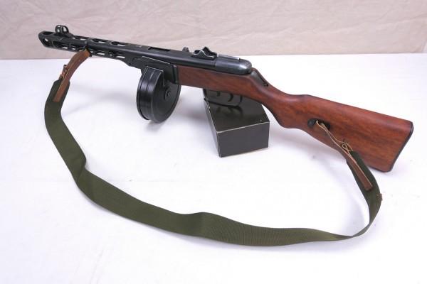 Russische PPsH 41 Maschinenpistole Dekomodell Antik Finish mit Tragegurt + Trommelmagazin