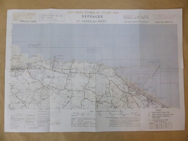 "US Army Defence Map Landungskarte ""St. Pierre du Mont"" 1944 Landkarte"