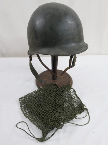 US Army WW2 M1 Steel pot helmet Stahlhelm Glocke + Liner Innenhelm + Helmnetz