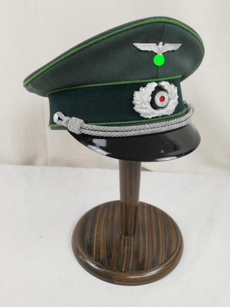 Gebirgsjäger Offizier Schirmmütze Gabardine - versilberte Effekten Gr.58