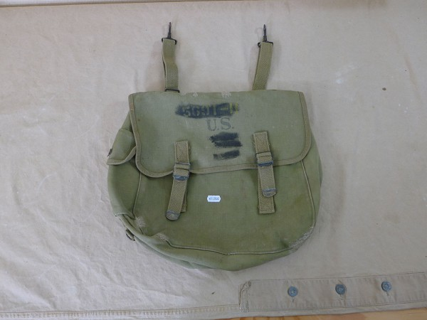Original US Army WW2 M-1936 Musette Bag Kampftasche, Atlantic Products 1941, Filmrequisite
