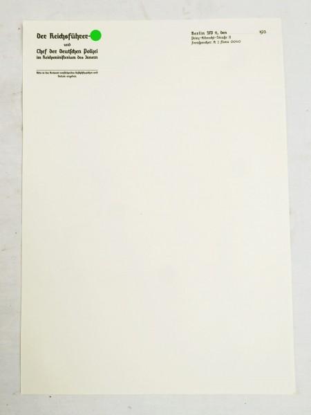 Briefbogen - RFSS und Chef der Deutschen Polizei im Reichsministerium des Innern - Briefpapier