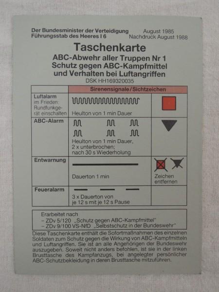 Original Bundeswehr BW Taschenkarte ABC-Abwehr 80er Jahre