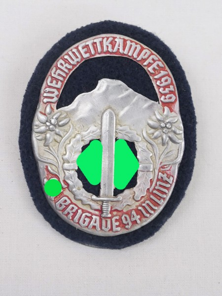 Veranstaltungsabzeichen Wehrwettkämpfe 1939 SA Brigade 94 in Linz