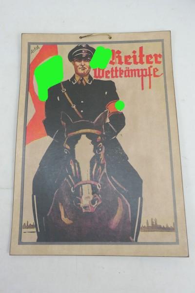 Wehrmacht Schild Bild aus festem Karton WSS Reiter Wettkämpfe Plakat