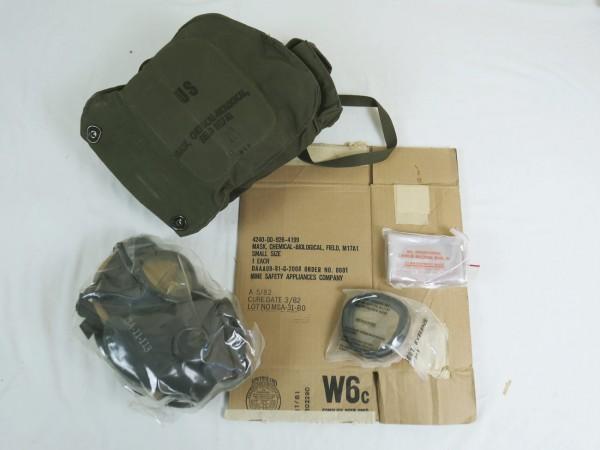 Original US Gasmaske M17A1 mit Tasche + Karton Mask Protective Field 1982