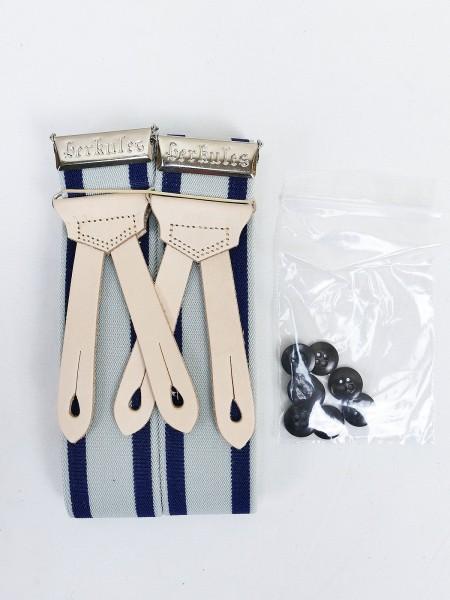 Vintage Hosenträger HERKULES Blau gestreift + 8 Knöpfe Feldhose Uniform