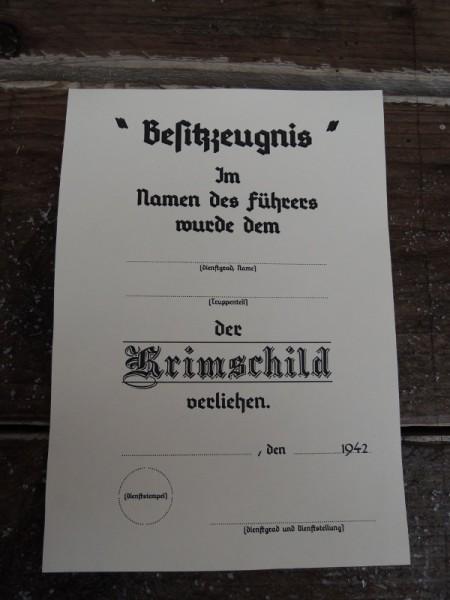 """Besitzzeugnis """"Krimschild"""""""