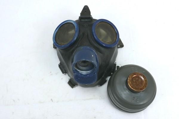 Wehrmacht Gasmaske 1944 Schutzmaske mit Filter FE41 und Beriemung clf blau #2