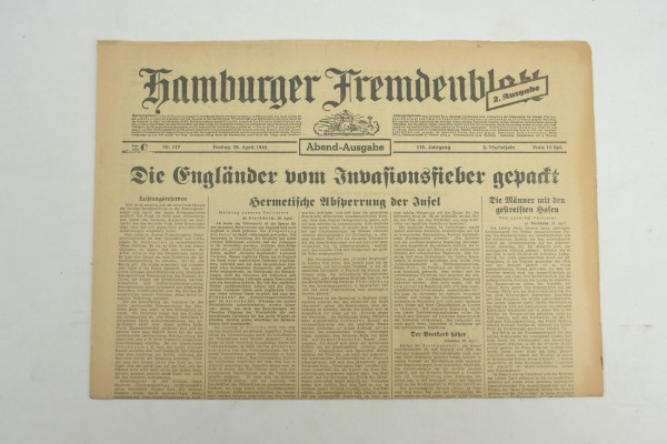 WK2 Tageszeitung Hamburger Fremdenblatt Zeitung 28 April 1944