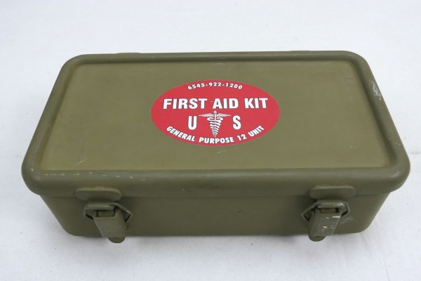 Original US ARMY First Aid Kit Box Emergency Verbandkasten Motor Vehicle Willys Jeep MB Ford