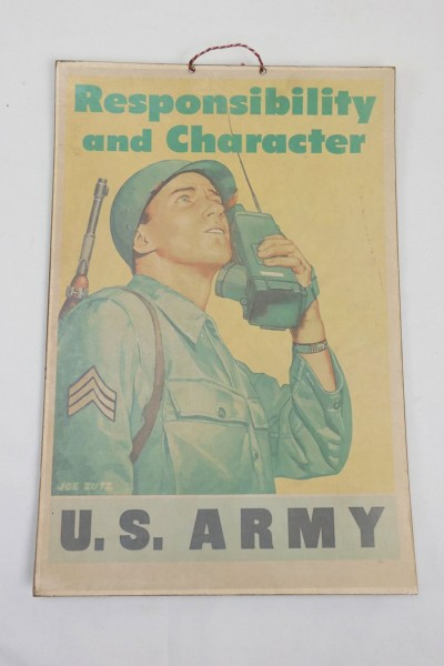 WW2 Vintage Poster Plakat US Army Responsibility and Character GI Soldat mit Funkgerät BC 611 Radio