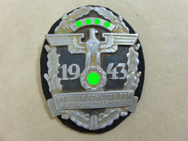 Abzeichen Plakette Schild NSKK Meisterschütze der Motorgruppe Oberdonau 1943