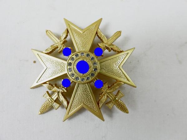 Spanienkreuz in Gold mit Schwertern und Brillanten Ehrenkreuz