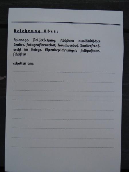 """Einleger """"Polizeiliche Belehrung"""""""