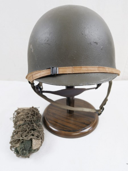US Army M1 Paratrooper Helm mit Helmfutter Kinnriemen und Tarnnetz Typ WK2