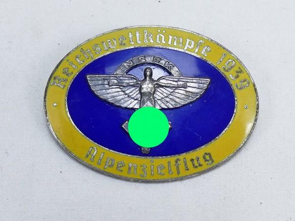 Plakette Abzeichen Reichswettkämpfe des NSFK Fliegerkorps Alpenzielflug 1939