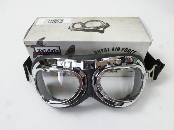 Vintage RAF Fliegerbrille Motorradbrille Bikerbrille Aviator Pilotenbrille Brille chrome