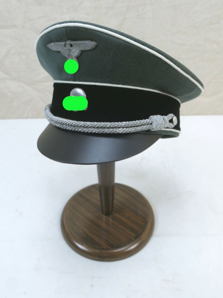 WSS Waffen Elite Offiziers Schirmmütze Gabardine - versilberte Effekten Gr.59