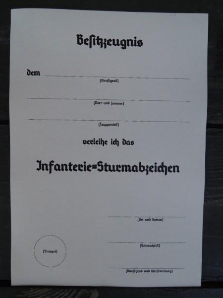 """Besitzzeugnis """"Infanterie-Sturmabzeichen"""""""