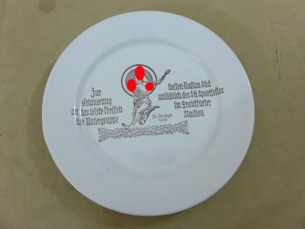Erinnerungs Teller Gedenkteller SA Sportfest 1933 der Untergruppe Hessen-Nassau-Süd