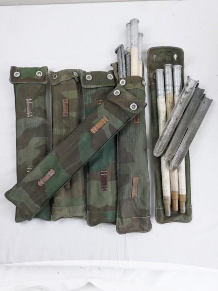 Typ Wehrmacht Splintertarn Zeltstangentasche mit 3 Zeltstangen und 3 Heringen