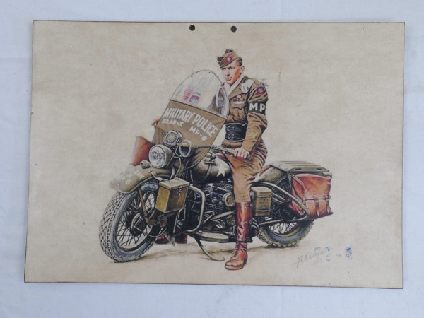US WW2 US GI MOTORCYCLIST MP MILITARY Police SIGN SCHILD PLAKAT KARTON NOSTALGIE