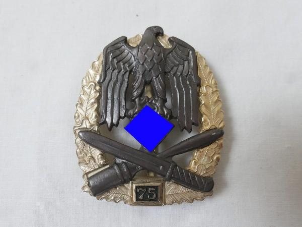 Wehrmacht Allgemeines Sturmabzeichen JFS mit Einsatzzahl 75