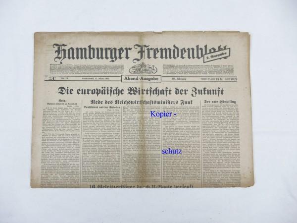 WK2 Zeitung Hamburg Tageszeitung - Hamburger Fremdenblatt 11.März 1944 - Abend-Ausgabe