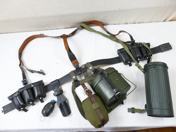 Wehrmacht Set K98 Koppelzeug 115cm Koppelschloss Y-Riemen 2x Patronentasche Gasmaskendose