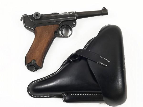 Pistole Luger 08 mit Koffertasche, Denix 08 im antik finish mit Lederholster