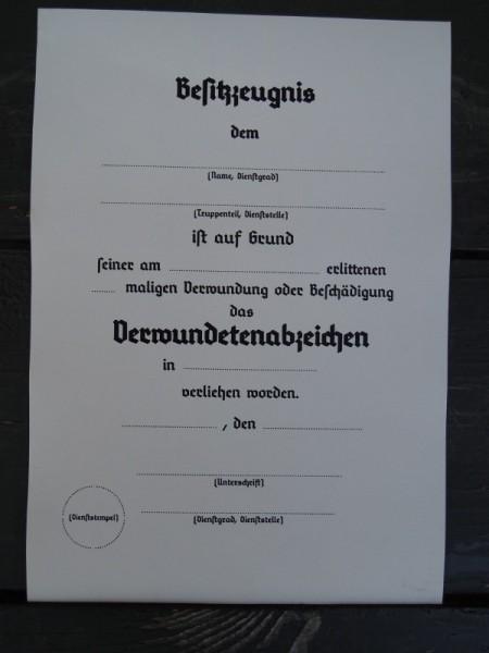 """Besitzzeugnis """"Verwundetenabzeichen"""""""