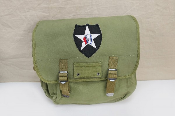 US MUSETTE BAG WW2 Kampftasche Tasche 2nd Infantry Division patch indian head