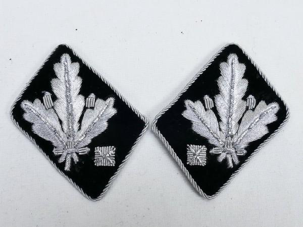 Paar WSS Dienstgradabzeichen / Kragenspiegel Gruppenführer / Generalleutnant -flache Ausführung-