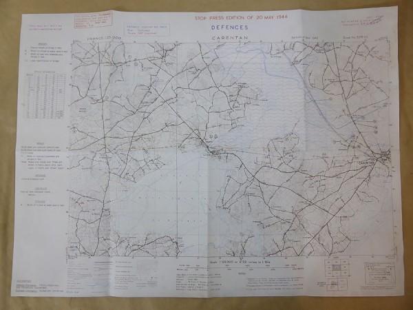 "US Army Map Landungskarte ""Carentan"" 1944 Top Secret Karte"