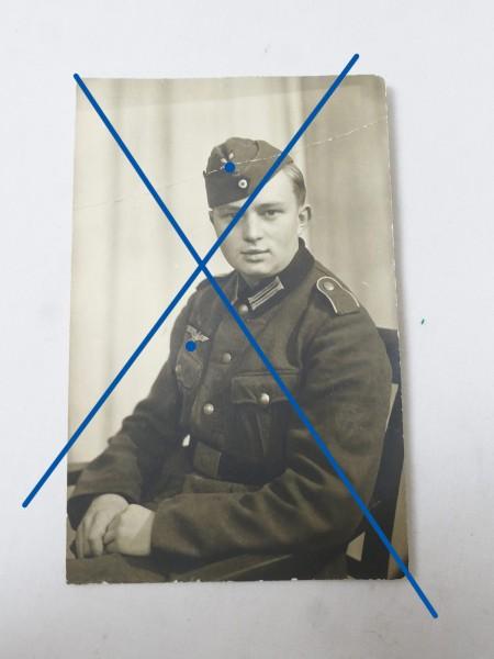 Portrait Foto Junger Soldat mit M36 Feldbluse 8.8 x 13.9
