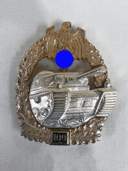 Wehrmacht Panzerkampfabzeichen des Heeres mit Einsatzzahl 100