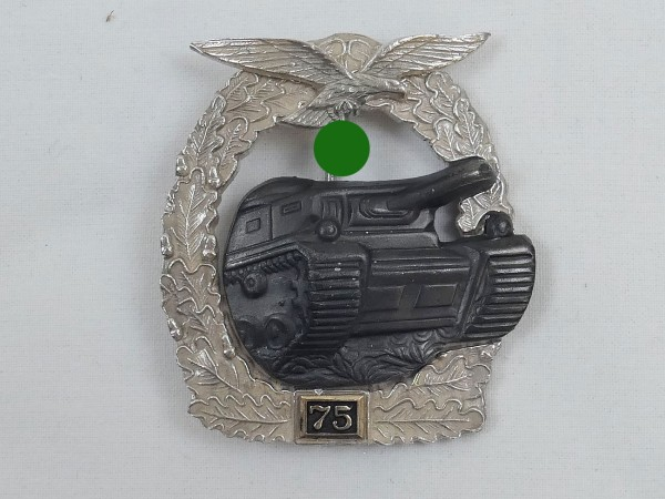 """Panzerkampfabzeichen Luftwaffe """"silber"""" mit Einsatzzahl 75"""