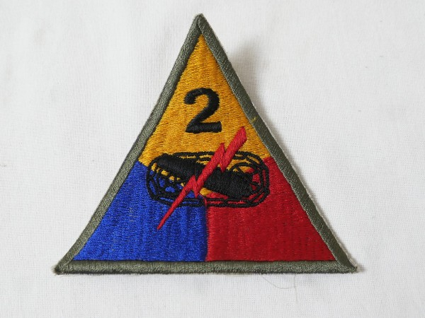 US ARMY WW2 Patch Abzeichen 2nd Armored Division Panzer Truppe khaki Rand