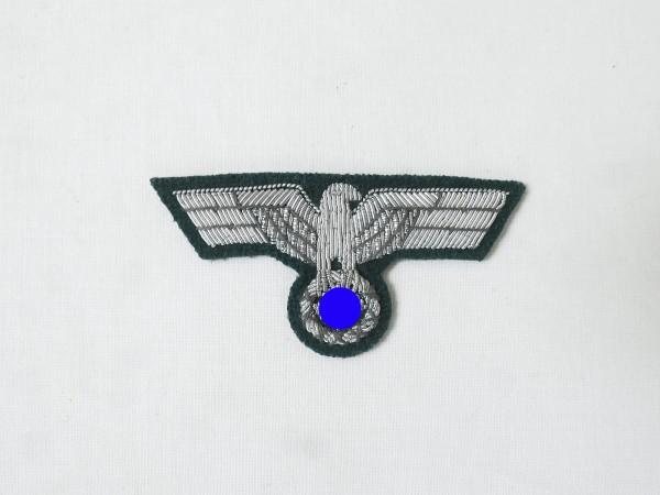 Wehrmacht M36 Mützenadler Silberfaden gestickt für Offiziers Schiffchen Feldmütze Heer